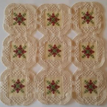 Crochet and cross stitch Flowers table cover, or tray cover, Finished handmade design, free shipping