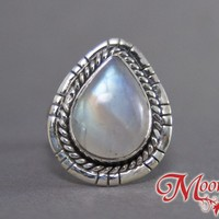 Rainbow Moonstone Teardrop Nouveau Sterling Silver Ring US 7 SS-022