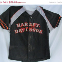 Harley Davidson Mens Shirt Vintage Harley Button Shirt sz L Authentic Harley Tag Manchester NH