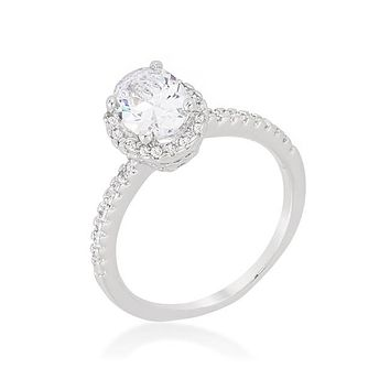 Laveda Oval Cut Halo Solitaire Engagement Ring | 2.8 Carat | Cubic Zirconia