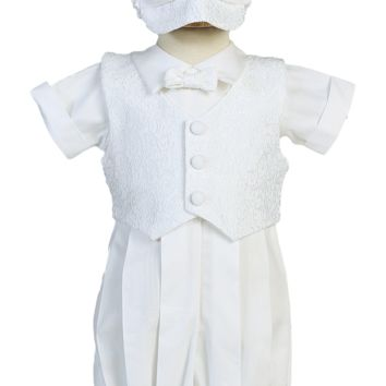Embroidered Full Vest on a White Poly Cotton Christening Romper Outfit (Baby Boys Newborn - 18 months)