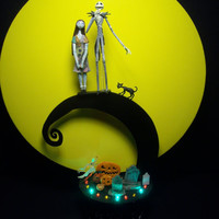Nightmare Before Christmas Jack and Sally Bride Groom Wedding Cake Topper color lights Full Moon Halloween