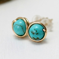 Genuine Turquoise Earrings, 14k Gold Filled Post Stud Earrings Yellow Gold Turquoise Earrings December Birthstone Wire Wrapped
