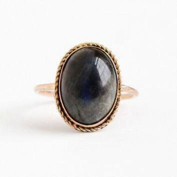 DCCK1IN vintage 10k rosy yellow gold labradorite cabochon stick pin conversion ring size 6 1