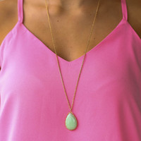 Teardrop Stone Necklace - Mint