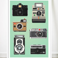 Retro Cameras Illustrations Mid Century Style Art Print Vintage Poster - Polaroid, Holga, Leica, Instamatic - A3 on Heavy 170g Paper