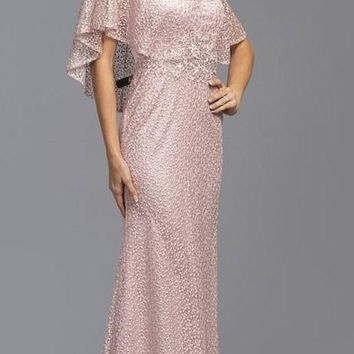 Dusty Rose Long Mother of Bride Dress with Cape