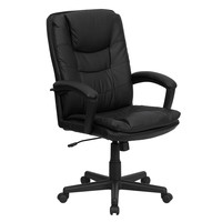 Flash Furniture High Back Black Leather Executive Swivel Office Chair [BT-2921-BK-GG]