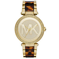Michael Kors Ladies Parker Tortoise Metal Watch - Gold/Tortoise