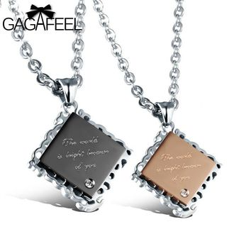 Fashion Exquisite Women Men Gold Color Crystal Jewelry Chocolate Cookies Lettering Pendant Necklace Lover Girlfriend Gift N994