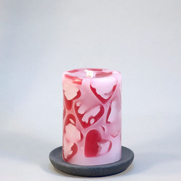 "Valentine's Day Heart Pillar Candles 3 x 4""- Heart Mosaic , Valentine's Decor - Pink, Valentine's Day Gift, Valentines Decor, Wedding, Love,"