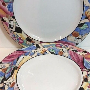 Sakura Tango Genuine Stoneware 1993 Indonesia 3 Dinner Plates & 1 Salad Plate