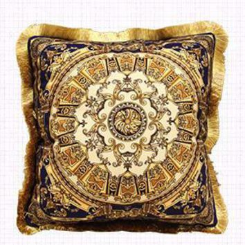 "Blue Gold Flower Pillow Embellished With Trim 20""X20"""