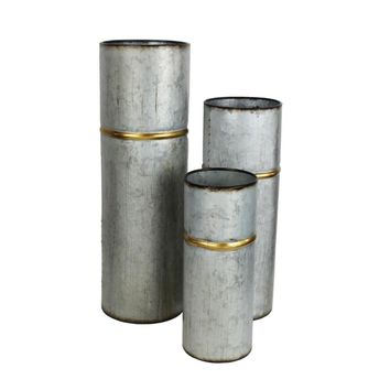 Metal Banded Cylinder Vases, Distressed Gray-Set Of Three