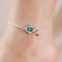 Turtle Seed Bead Chain Link Anklet