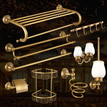 Antique Bronze Brass Carved Bathroom Accessories Set Brushed Bathroom Products Solid Brass Bath Hardware Sets High Grade Brass