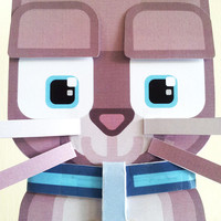 Cat Kitten Craft Activity. Instant download printable paper toy Grey Cat Kitten. Make your own cute kawaii Cat Kitten banners and bunting!