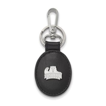 NCAA Sterling Silver Baylor U Black Leather Key Chain