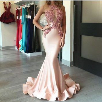 Sleeveless Beading Mermaid Satin Prom Dresses