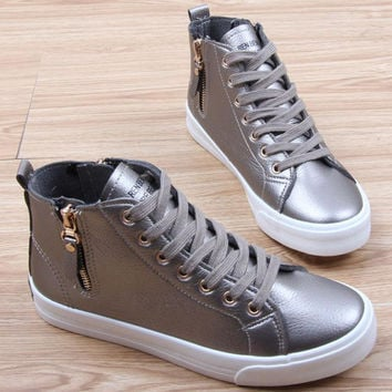 Spring Summer Women Leather Boots Bilateral Zipper Casual Shoes Woman Round Toe Western Ankle Boots Black Silver White