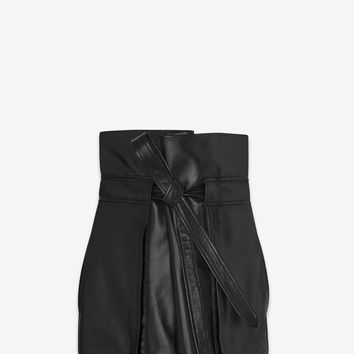 High-waisted mini skirt with black leather tie