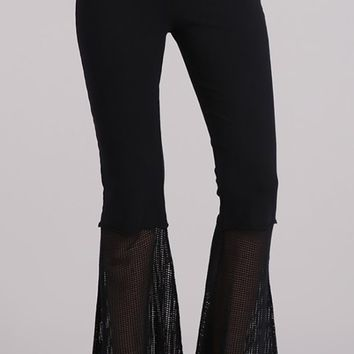 Flair For The Dramatic Black Sheer Fishnet Mesh High Waist Loose Flare Leg Bell Bottom Pants