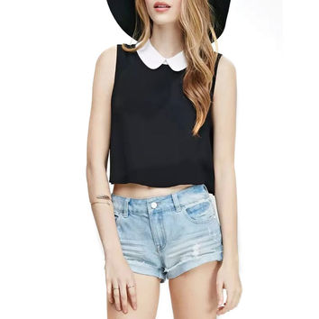 DM25 Women Tanks Summer fashion 2015 Sexy Peter Pan Collar black Crop Tops Sleeveless tee cropped