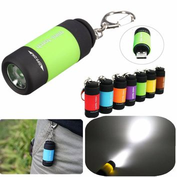 ELEGIANT Mini Waterproof Pocket Torch USB Rechargeable ABS LED Light Flashlight Lamp Keychain