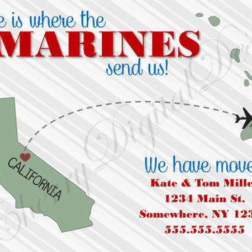 Marines Military Printable Digital Custom We have moved announcement.  Moving announcement for military.  Army, Navy, Marines, Air Force