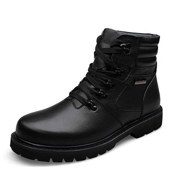 Genuine Leather Winter Warm Velvet Snow Boots Men Shoes Cow Patchwork Military Boot Male