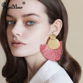 RAVINOUR Statement Tassel Earrings for Women Double Round Big Sector Cotton Fringed Dangle Earring Fashion Jewelry Handmade Gift