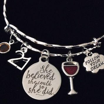 Follow Your Dreams Birthday She Believed She Could So She Did Expandable Charm Bracelet One Size Fits All Gift Birthday Jewelry Adjustable Silver Bangle Birthstone