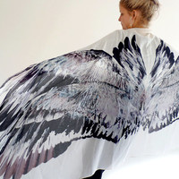 Wing scarf / wrap / shawl / sarong with wings black and white soft. Winter, Summer Gift. Bridal shawl/wedding wrap