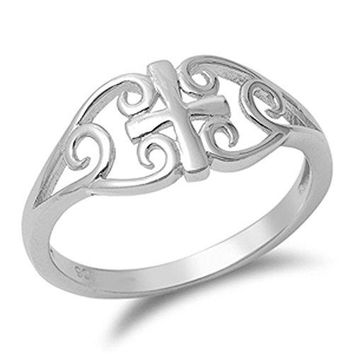 Womens Celtic Cross Filigree Unique Ring 925 Sterling Silver Band Sizes 410