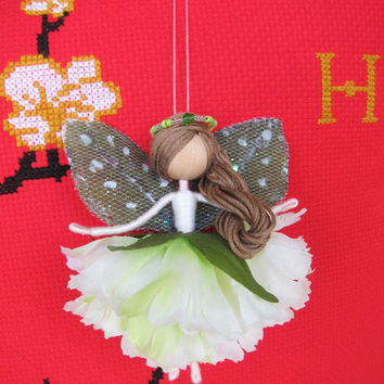 Mint Fairy Ornament, Mint Angel, Flower Fairy Doll, Carnation Fairy, Gift For Her.