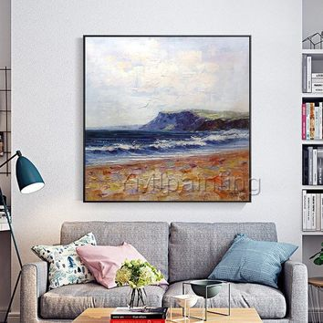 Abstract landscape acrylic painting on canvas waves texture decor Wall Art Decor for living room large painting Original cuadros abstractos