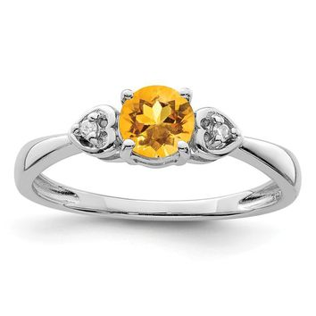 Sterling Silver Round Genuine Citrine With Diamond Accented Hearts Ring