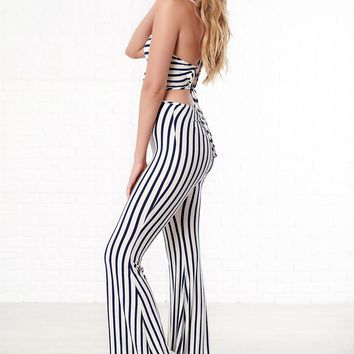 I Can't Wait Open Back Jumpsuit (Navy/White)