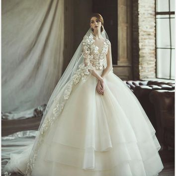 2017 New Sexy Lace Tulle Ball Gown Wedding Dresses Cap Sleeves Applique Bridal Gown robe de mariage vestido de noiva