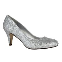City Classified Silver Glitter Classic Round Toe Med Heel Pumps (Free Shipping on Orders Over $35)