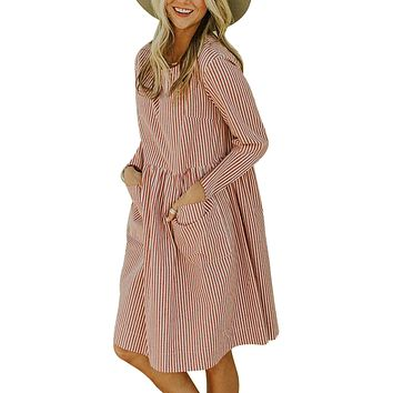 Red Pinstriped Long Sleeve Casual Pocket Dress