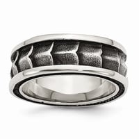 Men's Stainless Steel Polished and Antiqued Wedding Band Ring: RingSize: 9