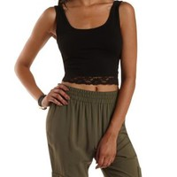 Lace-Trim Cropped Tank Top by Charlotte Russe