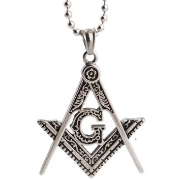 Men's Silver Free Mason Pendant 316L Stainless Stee