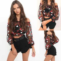 Casual Womens Mesh Sheer Floral Embroidered Shirts See-through Tops Blouses