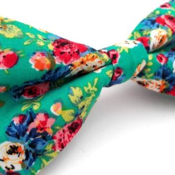 Bow Tie - floral bow tie - wedding bow tie - bright turquoise blue bow tie with floral pattern - grooms bow tie