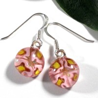 Pink Flowers Dangle Earrings, Floral Millefiori Fused Glass Jewelry