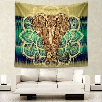 CREYU3C Indian Elephant Mandala Tapestry Wall Hanging Bedspread Throw Hippie Boho Decoration L:203*153cm M:150 *130cm New Arrival