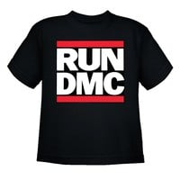 Run Dmc Logo - Youth Black T-Shirt