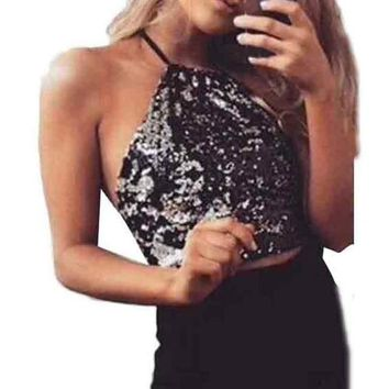 2017 New Fashion Tank Tops Womens Backless Bandage Sequins Vest Strapless Ladies Fashion Crop Tops Camis &03